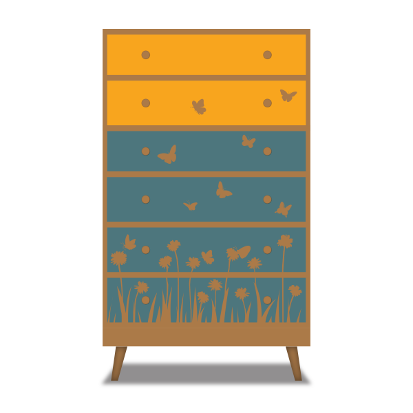 Mid century modern plywood chest of drawers