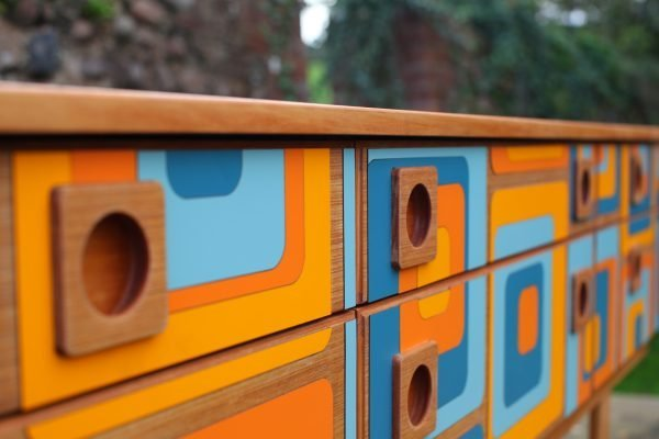 Upcycled mid century Schreiber sideboard with 1960s Formica design